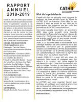Rapport d'activités 2018-2019 du CATHII